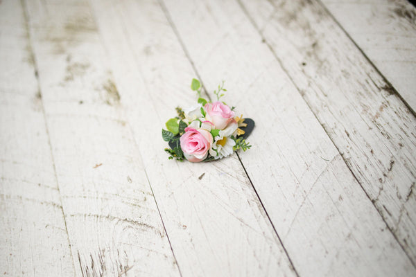 Romantic brooch Flower hair clip or brooch Floral hair clip Pink-green brooch Hair accessories Brooch on coat  Magaela accessories