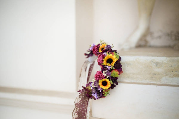 Wedding headband Folk headband Autumn headband with sunflowers Flower bridal headband with veil Bridal accessorie