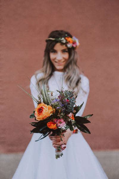 Flowers Bridal bouquet Wedding Boho bouquet for bride Wedding bouquet in orange tones Lush bouquet