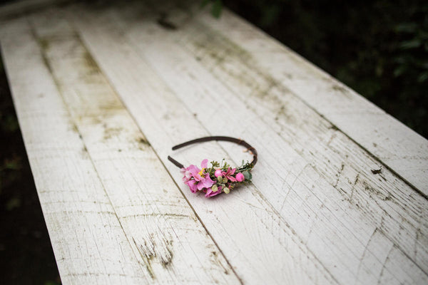 Flower headband Romantic headband Pink-violet headband Autumn headband  Hair accessories Flowers in hair