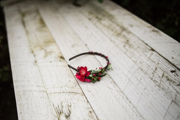 Elegant headband Romantic headband Red headband Flower headband Autumn headband Hair accessories Flowers in hair