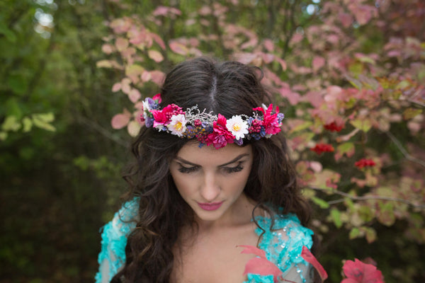 Romantic half wreath Floral half wreath Flower crown Floral headband Pink and Violet Romantic hair wreath Hair jewellery Magaela accessories