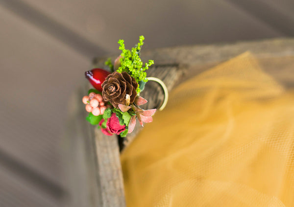 Autumn ring Romantic flower ring Ring with succulent Floral ring Handmade jewelry Wedding floral accessories Ring