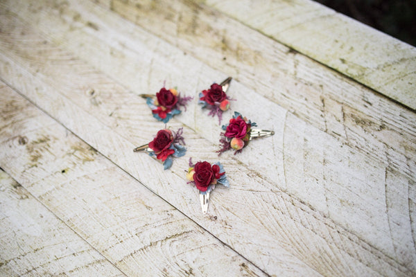 Red/Burgundy flower hair clips Wedding accessories Magaela accessories Hair jewellery handmade Floral hair pins Floral hair clips