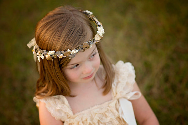 Champagne hair wreath Children hair wreath Hair wreath for flowergirl hair wreath with gold leaves Flower hair wreath Hair accessories