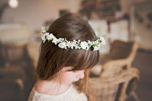 First holy communion head wreath Magaela accessories White floral wreath Hair accessories Holy communion Hair flowers Flower crown