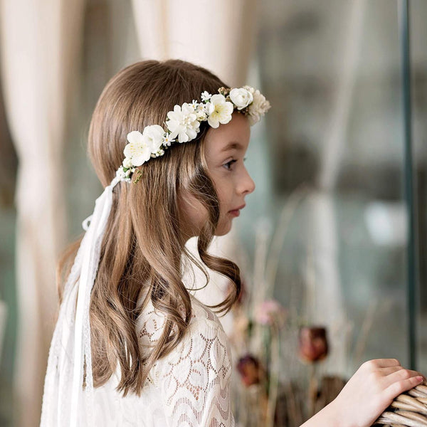 First holy communion head wreath with veil Magaela accessories White floral wreath 2021 Hair flower accessories Hair flowers Flower crown