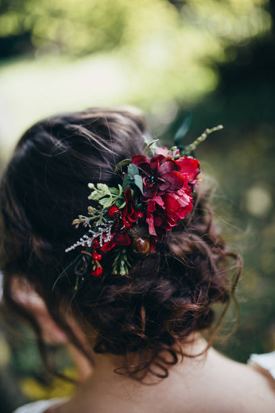 Red quarter wreath Wedding accessories Bridal hair accessories Fashion product Handmade Magaela accessories