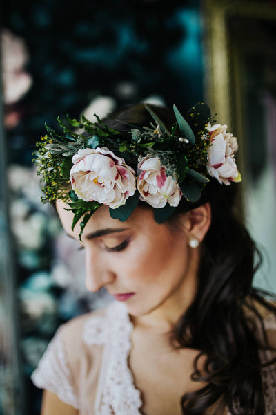 Boho wreath Romantic flower crown Wedding accessories Handmade Bridal accessories Fashion Pink head wreath