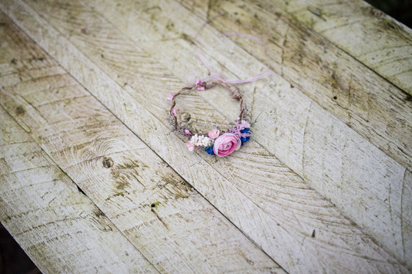 Pink and blue newborn head wreath Flower head wreath Newborn photography photo prop child wreath newborn crown baby photo baby flower crown