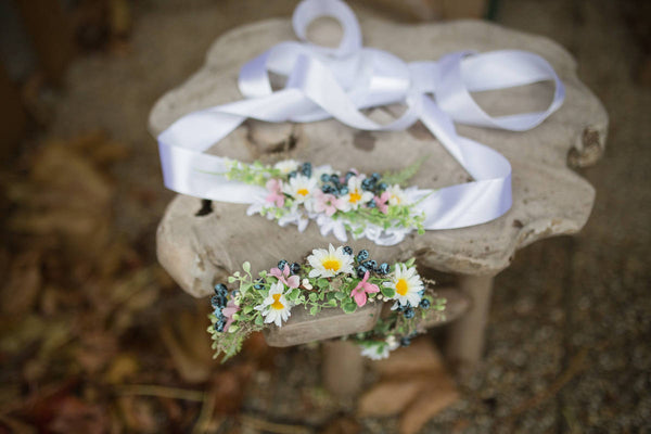 Meadowy wedding set with blueberries Hair accessories Flower belt with ribbon Wedding accessories Magaela Handmade Floral crown Flower crown
