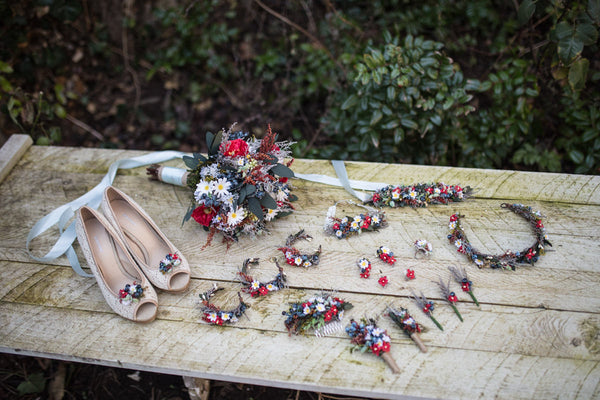 Folk wedding set Folk boutonniere Wedding bouquet Shoe clips folk style Half wreath Floral accessories Handmade Magaela bracelets Necklace