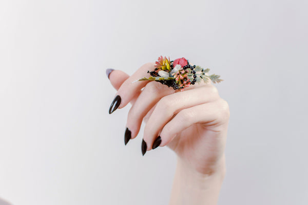Bridal ring with beads Autumn ring Dark colours Flower ring Wedding Floral ring Handmade jewelry Wedding floral accessories Ring