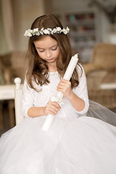 Handmade candle decoration for first holy communion Floral decoration First holy communion Magaela accessories Handmade product