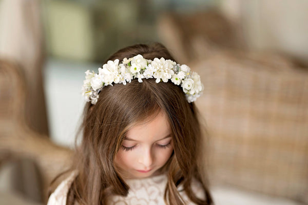 Floral headband for first communion Communion headband Girls headband Floral accessories Hair flowers Hair accessories Magaela Handmade