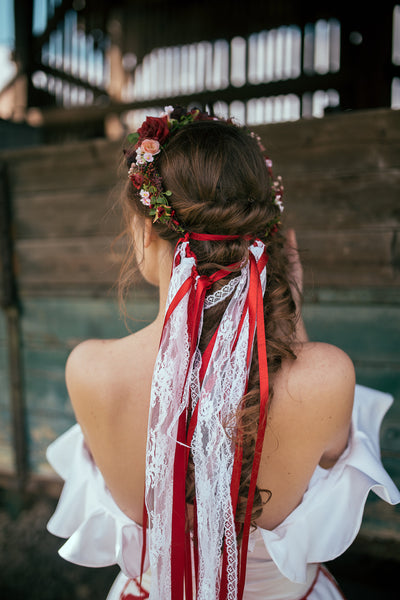 Folk half wreath Richly decorated floral half wreath with ribbons and lace Wedding accessories Floral crown Hair accessories Bridal wreath