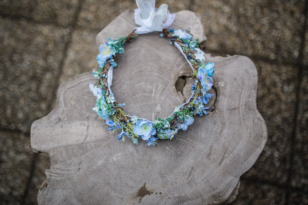 Blue wedding wreath Adjustable wreath Hair accessories Bridal wreath Magaela accessories Fashion accessories Handmade product Hair flowers