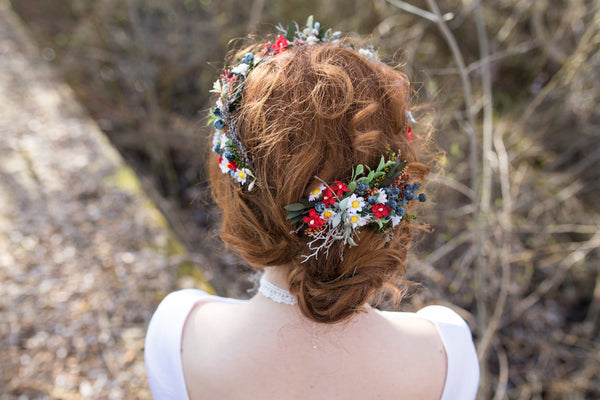Hair comb Folk hair comb  Meadowy style Magaela Flower floral fairy hair flowers wedding comb bridal hair fashion accessories