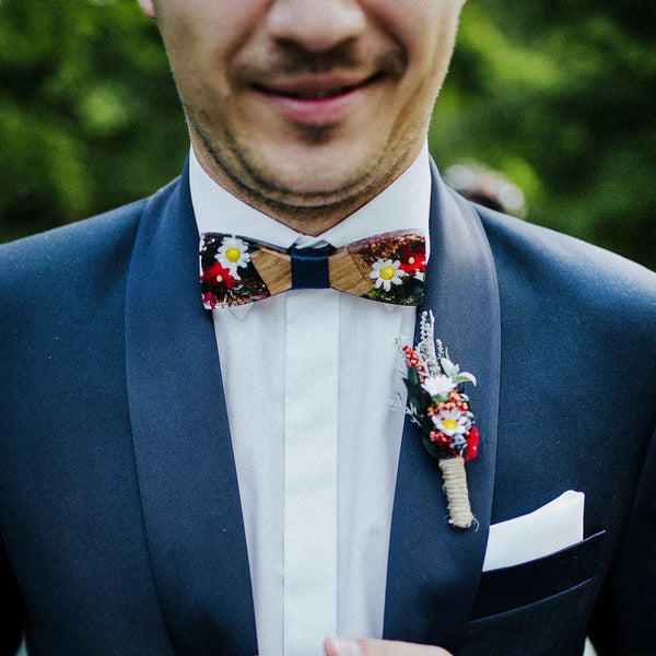 Bow tie Folk bow tie Men's accessories Wedding accessories Floral bow tie Wooden bow tie Magaela accessories Resin groom's bow tie