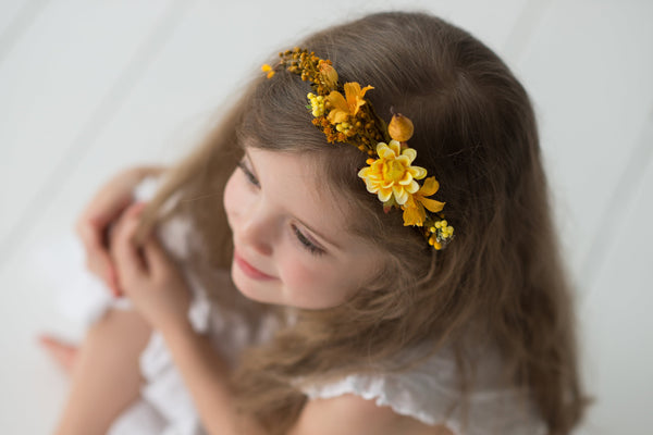 Autumn hair wreath in ochre colours Newborn wreath Childrens crown Hair wreath for flower girl Baby flower crown Wedding accessories Magaela