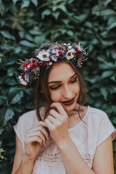 Folk crown Richly decorated  wreath Colourful wreath Summer wreath Flower hair wreath Handmade hair wreath Floral headband Hair jewellery