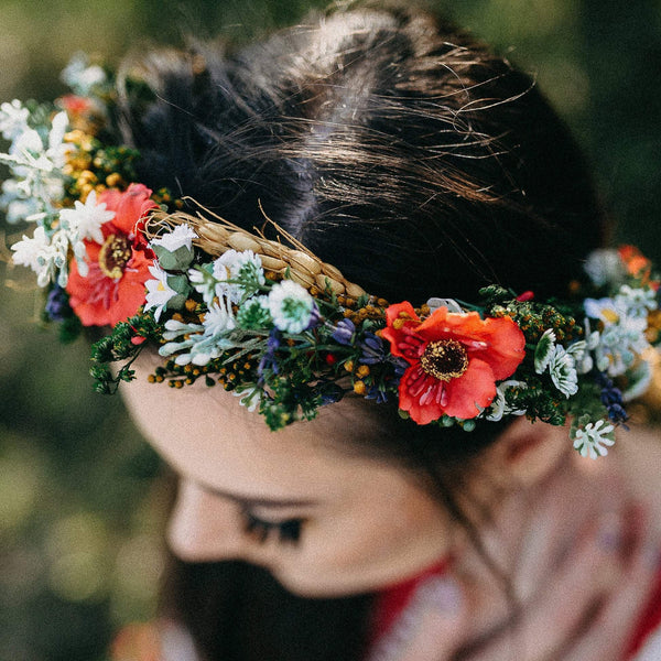 Folk crown with poppy flower and ear of wheat Bridal colourful wreath Flower hair wreath Handmade hair wreath Floral headpiece Hair jewellery