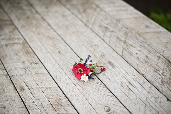 Bridal ring with poppy flower Folk ring Red Flower ring Wedding Floral ring Handmade jewelry Wedding floral accessories Ring