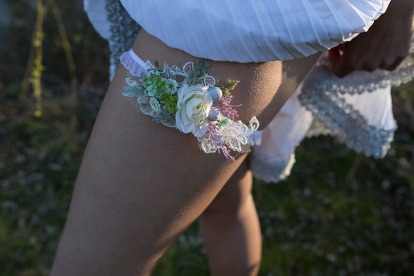 Wedding Garter garter with succulents Romantic garter Wedding accessories Flower Garter for bride Wedding garter Bridal floral accessories