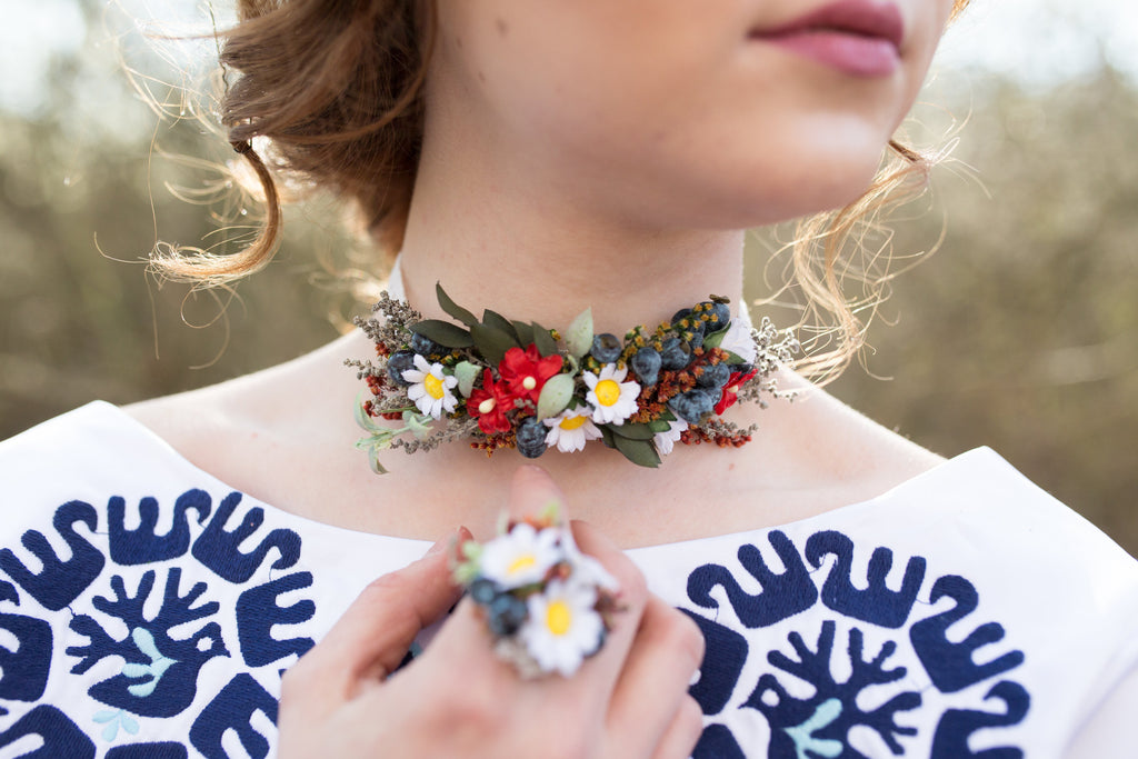 Wedding necklace Folk choker Colourful flower neklace Choker Floral necklace Handmade necklace Necklace with lace Magaela jewellery