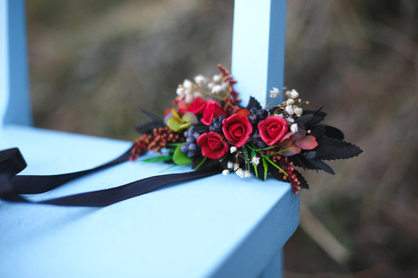 Wedding belt Red flower belt on ribbon  Wedding sash Bridal belt Magaela accessories wedding accessories Floral sash