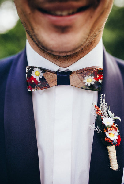 Bow tie Folk bow tie Men's accessories Wedding accessories Floral bow tie Wooden bow tie Magaela accessories Resin