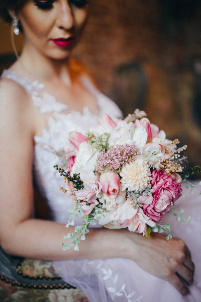 Boho wedding bouquet Pink and cream flowers Romantic style flower bouquet t Wedding bouquet with roses Bridal flower bouquet Bridal bouquet