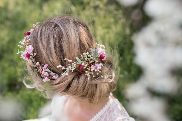 flower hair wreath romantic white pink wedding crown bridal headpiece spring head wreath hair flowers boho hair accessories