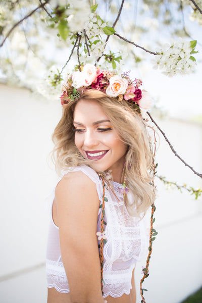 "Romantic boho wreath with ""braids"" Boho style Wedding wreath Hair wreath Flower crown Magaela accessories Bridal accessoeries"
