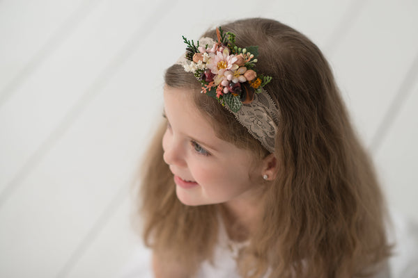 Beige lace headband Children headband Headband for flower girl Baby flower headband hairband Lace headband Wedding accessories Magaela