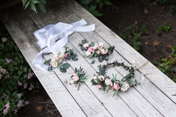 Wedding set Flower Bridal set Floral hair accessories  Bridal accessories Grooms boutonniere Hair crown Floral belt Floral hair comb Wedding