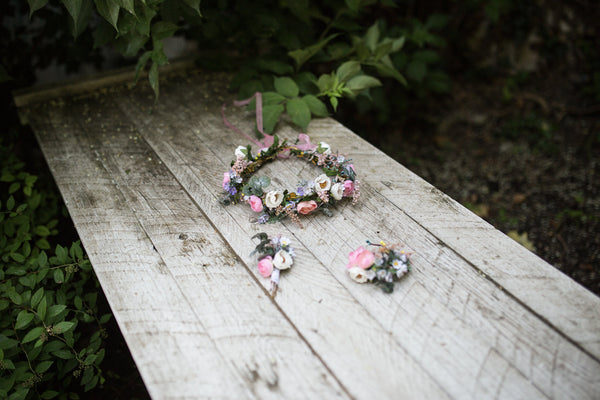 Pastel wedding set Bridal set Floral hair accessories Bracelet Bridal accessories Grooms boutonniere Hair crown  Floral bracelet Wedding