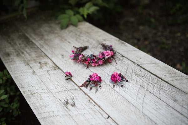 Pink wedding set Half wreath  Bridal set Floral hair accessories Earrings Hair wreath Floral earrings Flower ring Wedding ring Wedding