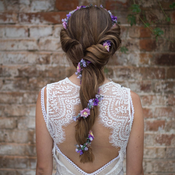 Purple elegant garland Flower Hair Garland Wedding Hair Flowers Head Wreath Flower Crown  Bridal Wreath Fairy Wreath Floral Hair Crown