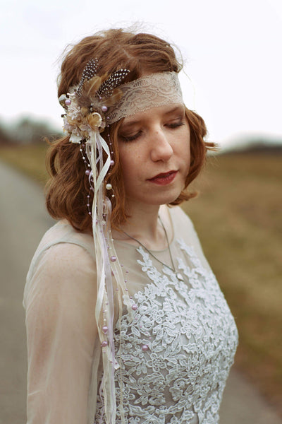 Retro floral headband with feathers Flower headband with laces Bridal headband Hair accessories Flowers in hair Lace headband Hairband