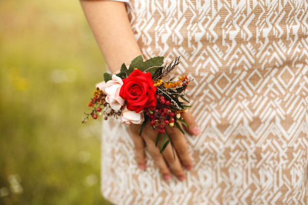 Bracelet with roses Boho style Red bracelet Romantic wrist corsage Wedding accessories Wedding bracelet Bridal corsage Magaela jewelry