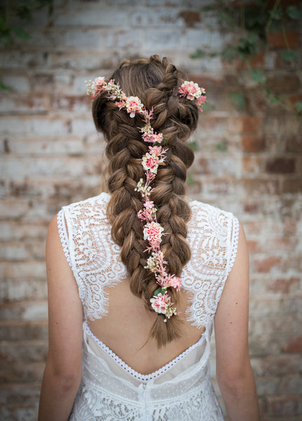 Flower Hair Garland Wedding Hair Flowers Head Wreath Flower Crown Cherry Blossoms Pink peach Bridal Wreath Fairy Wreath Floral Hair Crown