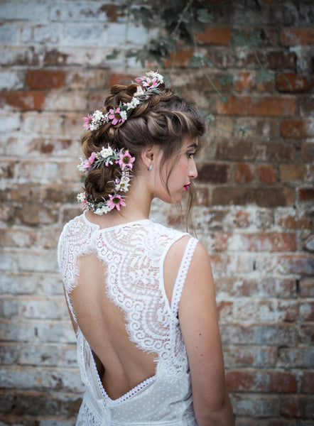 Romantic pink and white Flower Hair Garland Wedding Hair Flowers Head Wreath Flower Crown White Bridal Wreath Fairy Wreath Floral Hair Crown