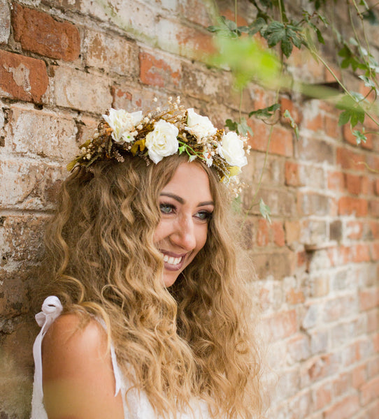 White half wreath with roses Fairy wreath Romantic crown Half wreath Bridal wreath wedding accessories Wedding crown Floral half wreath