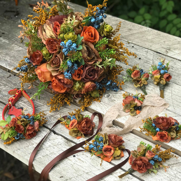 Autumn flower set with blueberries Fall Wedding bouquet Autumn style Floral bracelets Boutonniere Buttonhole Wedding garterBridal