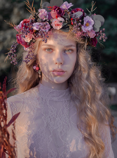 Pink boho wreath Romantic wedding wreath Bridal floral crown Corona de flores Wedding hair wreath Magaela Hair accessories Boho style