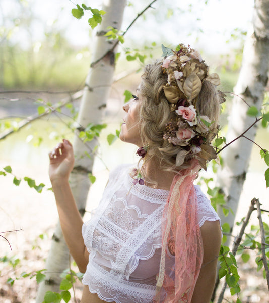 Romantic hair wreath Flower accessories Pink and golden wreath Floral hair wreath Flower crown Wreath Hair jewellery Magaela accessories