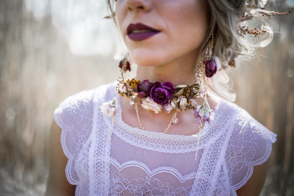 Wedding necklace flower necklace Choker Floral necklace in pink/purple and golden colours Handmade necklace with chains Magaela jewellery