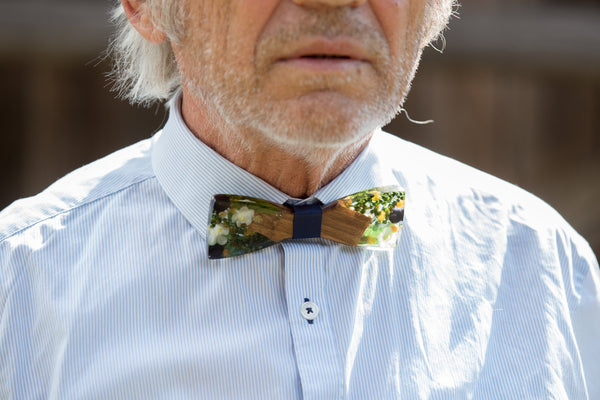 wedding floral bow tie Wooden bow tie Magaela accessories Groom's accessories Bow tie for groom Pajarita de madera Handmade bow tie
