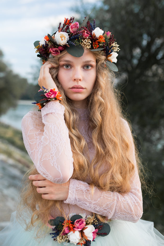 Boho wedding crown Bridal hair wreath Hair accessories Flower hair wreath Corona de flores Corona de boda Floral headband Hair jewellery